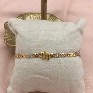 Elephant bracelet three tone gold plated jewelry